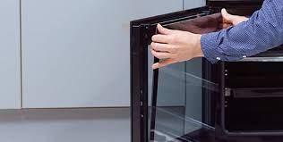 oven door glass on a range cooker