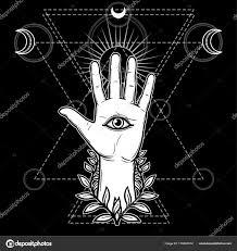 Mystický Symbol Lidská Ruka Věnec Vševidoucí Boží Oko Posvátná