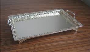 Decorative Serving Trays With Handles 100100x100100 large rectangle silver plated alloy metal serving tray 3