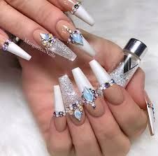 Nail Designs With Jewels 32 Extraordinary White Acrylic Nail Designs To Finish Your