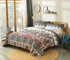 Facebook & Bedspread - DaDa Bedding Bohemian Earthy Meadow Quilted Bedspread Set -  Multi-Colorful Floral Paisley Adamdwight.com
