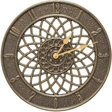 indoor outdoor wall clock spiral in french bronze slate