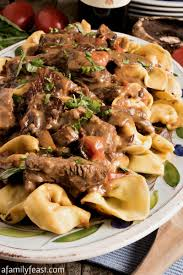 this restaurant quality braised beef and tortelloni is loaded with tender chunks of beef in