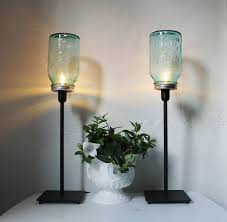 jar lighting fixtures. Mason Jar Lamps, Set Of 2 Table Desk Antique Blue Jars, Black Metal Lamp Fixtures, Modern BootsNGus Lights, Bulbs Included Lighting Fixtures R