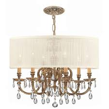 bwood ornate cast brass chandelier with swarovski spectra crystal and antique white shade