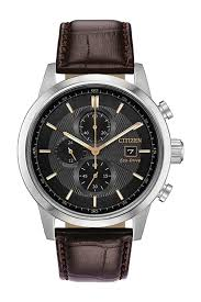 citizenmen s standard embossed leather eco drive watch 47mm