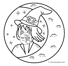 Small Picture Witch with moon coloring pages for kids printable free