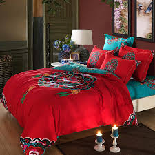 turquoise sheet set king red turquoise oriental chinese traditional pattern bedding set queen