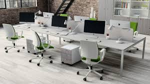 modern white office desk. Awsome Office Furniture Design With White Long Desk Plus Partition Including Modern Swivel Chair On Wooden Floor Also Bricks Stone Wall E