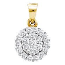 14kt yellow gold womens round diamond circle frame flower cer pendant 1 2 ct