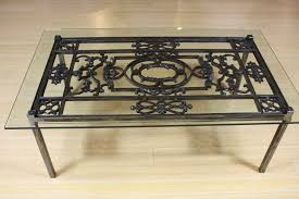 wrought iron coffee table with glass top black