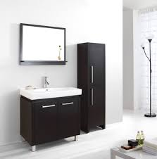 alluring bathroom sink vanity cabinet. Alluring Black Painted Cherry Wood Vanity Cabinet With White Porcelain Sink Under Framed Wall Mirror As Well Tall Lacquered Storage By Bathroom R