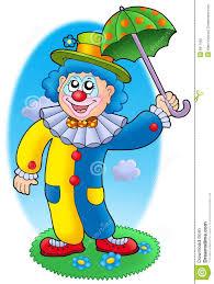 Parapluie De Fixation De Clown De Dessin Anim Illustration Stock