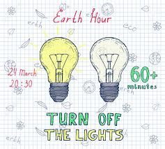 The Lights Off Earth Hour Hand Drawn Poster With Lamp And Inscription Turn Off
