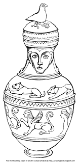 Small Picture Coloring Sheets of Sculpted Figures on Greek Pottery Crayon Palace