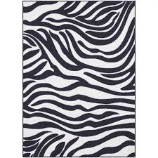 modern rectangle animal print zebra area rugs black and white color percent polypropylene material durable jute backing stain resistant contemporary or