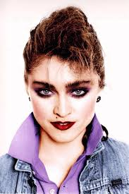 madonna typical 80 s makeup and popped collars