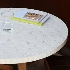 mosaic tiled bistro table white