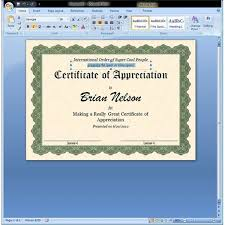 Microsoft Award Templates Certificate Of Appreciation Template In Word