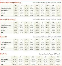Dickies Size Chart Women S 54 Abundant Dickies Clothing Size Chart