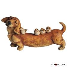 Dachshund Home Decor Dachshund Small Dog Bird Outdoor Statue Sculpture Lawn Garden