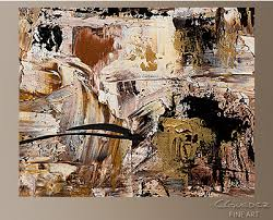 abstract painting gold ochre brown