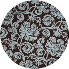 chandra venetian brown aqua 8 ft indoor round area rug