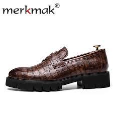 Merkmak High Quality Leather Men Oxford Tassel Loafers <b>Crocodile</b> ...