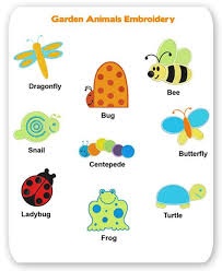 garden animals. Garden Animal Embroidery Designs Frog Ladybug Bee Bug Snail Turtle Butterfly Dragonfly Animals