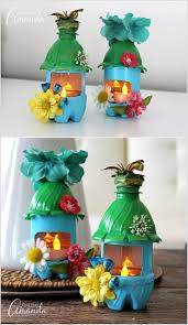 craft fairy houses with plastic bottles and adorn them with paint and embellishments like faux flowers and erflies