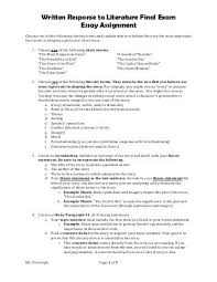 style sheet for literary essays written for english at spl written response to literature final exam essay assignment