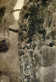 gustav klimt was commissioned by the university of vienna to paint a complex maze of murals to be displayed upon the ceiling
