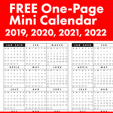 One Sheet Calendar 2020 Free Full Year Single Page 2019 2020 2021 2022 At A