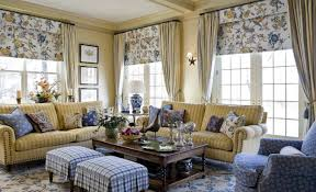 Striped Living Room Curtains French Country Style Living Rooms With Long Curtains And Floral