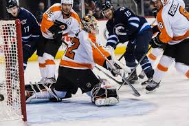 flyers hf boards video first nhl win zepp backstops flyers to comeback victory