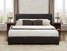 zoey platform bed in dark brown faux leather full or queen size same low