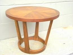 mid century lane danish modern walnut table side end coffee round surfboard