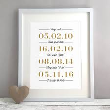 personalised dates wedding or anniversary gift print