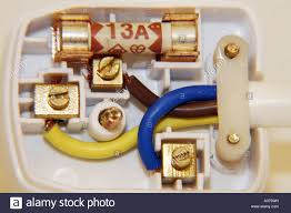 wiring plug stock photos wiring plug stock images alamy correctly wired uk three pin mains plug showing colour coded wires brown live blue neutral green