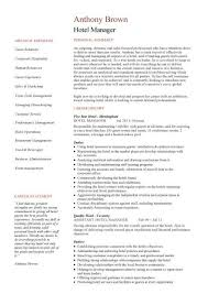 Personal Statement On Resume Simple Hotel Manager CV Template Job Description CV Example Resume