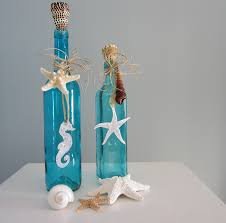 Turquoise Decorative Accessories Beach Decor Decorative Bottles Nautical In Turquoise Aqua W 29