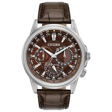 men s citizen eco drive calendrier brown leather strap watch bu2020 29x reeds jewelers
