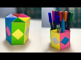 How to design pencil holder - Pen holder ideas - DIY Paper Crafts | pencil  holder origami pencil box
