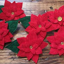 Poinsettia Designs In The Hoop Flowers Felt Poinsettia Pin Embroidery