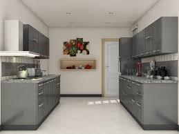 Grey modular kitchen designs   Parallel shaped Modular kitchen ...