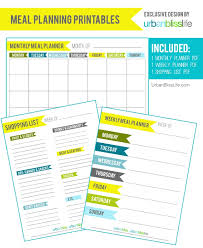 Diy Bliss: Free Meal Planning Printables - Urban Bliss Life