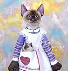loretta and lulu original one of a kind folk art siamese cat