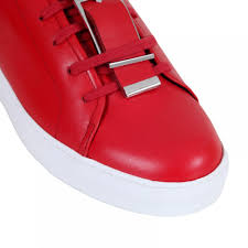 versace jeans mens red leather sneakers with a lion head featured leather and silver buckle