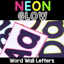 Pocket Chart Rings Neon Word Wall Letters Abc Alphabet Cards For Pocket Chart Neon Brights