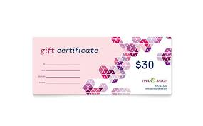 Gift Card Word Template Nail Salon Gift Certificate Template Design